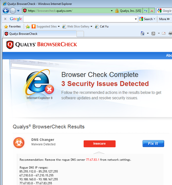 Qualys BrowserCheck - DNS Changer Malware Detected