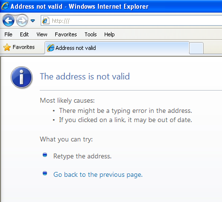 Address not valid - Windows Internet Explorer