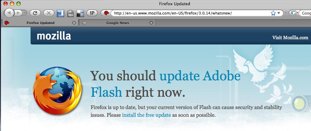Firefox warning to update Adobe Flash